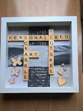 Personalised Scrabble art box frame pictures,  wedding, engagement, family