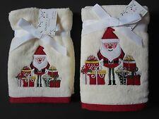 Santa Christmas Towels 2 Pc Gift Sets Ivory Hand or Fingertip Embroidered