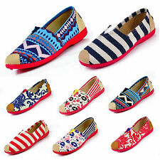 Womens Floral Flats Espadrilles Pumps Canvas Boat Deck Shoes Casual Dolly Loafer