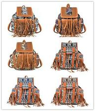 Womens Ladies Girls Vintage Fashion Canvas Fringed Backpack Rucksack Bag