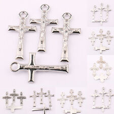 Lots 25/50Pcs Glossy Tibet Silver Cross Carved Charm Penant Jewelry Findings