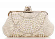 Women Beaded Pearl Evening Shoulder Bag Crystal Evening Clutch Purse with Chain
