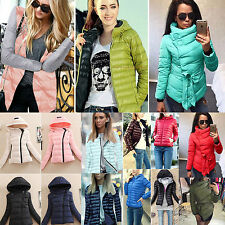 Womens Ladies Quilted Winter Coat Padded Hooded Collar Short Coat Jacket Parka