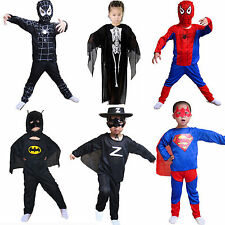Kids Boys Girls Spiderman Batman Fancy Dress Party Costumes Superhero Outfit US