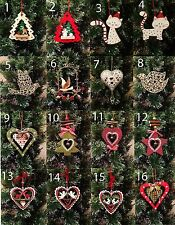 Selection of Wooden Metal Hanging Christmas Tree Decorations