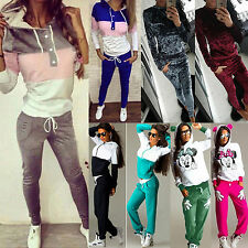 2Pcs Womens Hoodies Sweatshirt Sport Tops Pants Tracksuit Jogging Set Sweat Suit