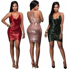 Sexy Women Bandage Bodycon Sleeveless Sequins Evening Party Cocktail Mini Dress