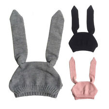 Cute Bunny Ear Hat Toddler Baby Kids Crochet Earflap Beanie Hat Cap 2Styles Gift