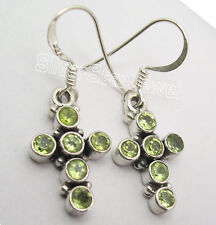 925 Sterling Silver PERIDOT CROSS Earrings 3.4 CM ! BUY WITH COMBINED SHIPPING
