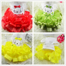 Dog Bow Tutu Dress Lace Skirt Pet Puppy Dogs Princess Costume Apparel Clothes