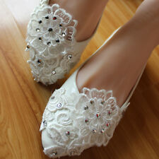 #L Handmade Women Party Pearl White Lace Crystal Bridal Shoe High Heels #007