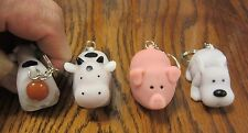 18 NEW NAUGHTY FARM ANIMALS POOPING KEYCHAIN DOG PIG COW SQUEEZE POOP KEY RING