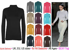 POLO NECK TOP STRETCH LADIES LONG SLEEVED ROLL TURTLE NECK TOP JUMPER 6-26 'polo