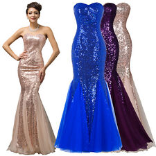 Long Mermaid Sequins Bride Formal Evening Cocktail Prom Party Ball Gown Dresses