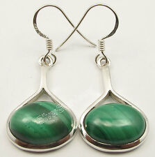 925 Solid Silver Hot Selling CABOCHON GREEN MALACHITE New Earrings 1 1/2 inches
