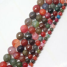 6-16mm Faceted 128 Surface Multicolor Crack Agate Round Loose Beads 15""