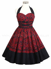 Rockabilly 50s Corset Red Floral Tea Dress ~ Plus Size Psychobilly Vintage Pinup