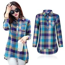 Autumn Women Check&Plaids Blouse Lady Long Sleeve Warm T-Shirt Loose Shirts Tops