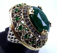 925 SILVER HANDMADE JEWELRY GREEN EMERALD PRECIOUS LADIES RING SIZE 7.5