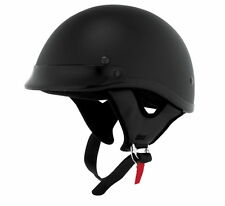 Skid Lid Traditional Half 1/2 Motorcycle Helmet Flat Black [Different Sizes]