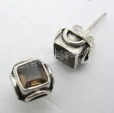 925 Sterling Silver BROWN SMOKY QUARTZ HANDCRAFTED Studs Earrings 0.7 CM NEW