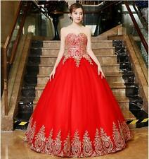 Red 2017 Quinceanera Dress Ball Gown Tulle Gold Applique Prom Party Formal Gown