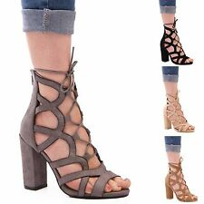 LADIES WOMENS BLOCK HEEL CUT OUT LACE UP FASHION HIGH HEEL SUMMER CASUAL SHOES