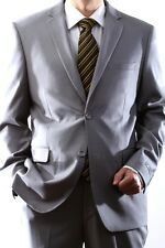 MENS LIGHT GRAY TWO BUTTON SLIM FIT EXTRA FINE DRESS SUIT,SML-60512H-60538-LGR