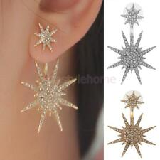 1 Pair Women Lady Crystal Rhinestone Dangle Gold Star Ear Stud Earring Jewelry