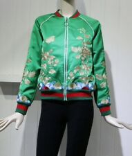 Floral Embroidered Green Silk Satin Bomber Jacket