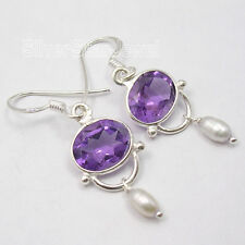 925 Sterling Silver High End AMETHYST, PEARL Beaded TRENDY Earrings 1 1/2 inches
