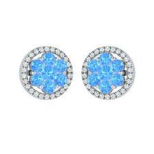 1.34 ct Round Topaz & White Sapphire Solid Gold Cluster Flower Stud Earrings