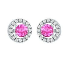 0.66 ct Round Cut Pink & White Sapphire Solid Gold Stud Earrings For Womens
