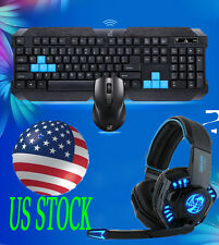 New Gaming wireless keyboard and Mouse And Headset to computer Multimedia Gamer