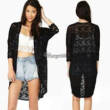 Women Lace Sheer Sleeve Floral Crochet long Tee Top Blouse Cardigan hollow UTAR