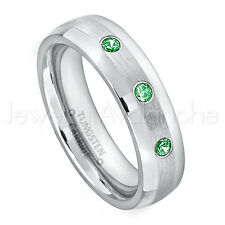 0.21ctw Tsavorite 3-Stone Ring, January Birthstone, Tungsten Wedding Band #006