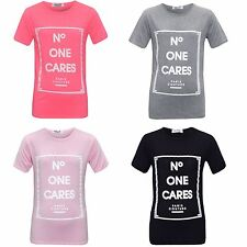 """Girls Short Sleeve """"No One Cares"""" Top T-Shirt Kids Tee T-Shirt Age 7-13 Years"""