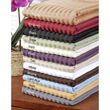 """600-Thread-Count 1PC Soft Fitted Sheet Striped 100%Cotton 30"""" Extra Deep Pocket"""