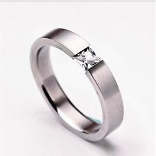 Women Charm Wedding Stainless Steel Solid Zircon Ring Engagement
