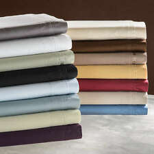 "400-Thread-Count 1PC Super Soft Fitted Sheet Solid 100% Cotton 17"" Deep Pocket"