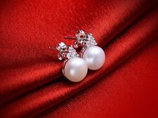 Noble Jewel Elegant freshwater Pearl with CZ 925 Sterling Silver Stud Earrings