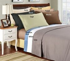 """800-Thread-Count 1PC Super Soft Fitted Sheet Solid 100% Cotton 22"""" Deep Pocket"""