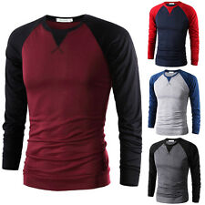 Stylish Mens Casual Polo Tee Slim Fit Round Neck Long Sleeve Tops Tee T-shirt