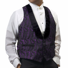 Men's Purple Brocade Tuxedo Vest Reversible to Black Vest