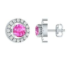 0.45 ct Round Cut Pink & Sapphire Solid Gold Flower Cluster Stud Earrings