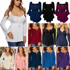 New Plus Size Womens Plain Swing Flared Ladies Long Sleeve Scoop Neck Top 6-22