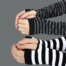 Winter Warmer Knitted Long Wrist Arm Unisex Womens Fingerless Gloves Mittens NEW