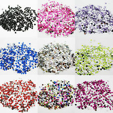 1000 Hearts Rhinestones Acrylic Gems Flat silver back Nail Art Craft Cards 2,5mm