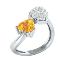 1.04ct Heart & Round Cut Citrine & White Sapphire Solid Gold Heart Promise Ring
