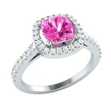 1.40 ct Cushion Pink Sapphire & Round White Sapphire Solid Gold Engagement Ring